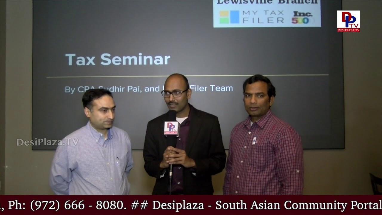 Sudhir Pai and his team speaks to DesiplazaTV at MyTaxFiler seminar at Dharani Restaurant, Irving