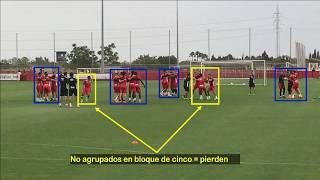 Vicente Moreno. Ejercicio entrenamiento fútbol. Juego de Bloques. RCD Mallorca 17/18 Calentamiento