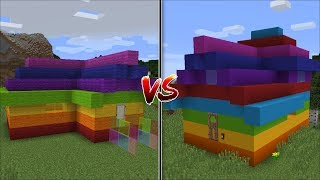 Minecraft WOOL RAINBOW HOUSE VS CLAY RAINBOW HOUSE / FIND YOUR FAVOURITE HOME !! Minecraft