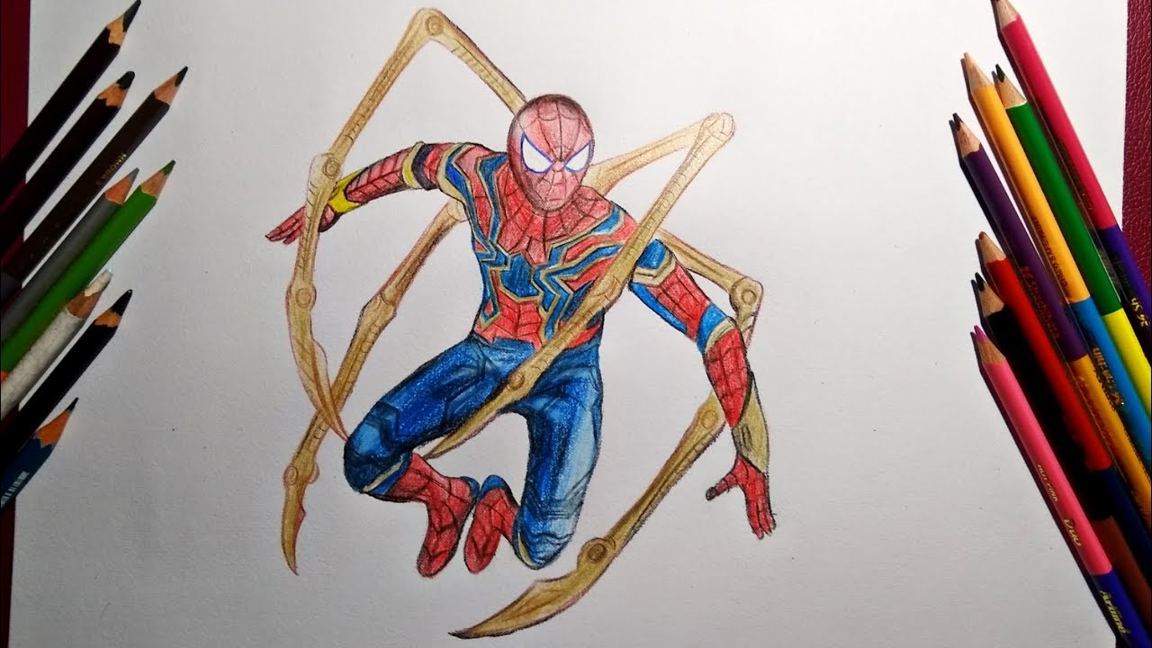 How To Draw Iron Spider Full Body How To Draw Iron Spider Step By Step Youtube