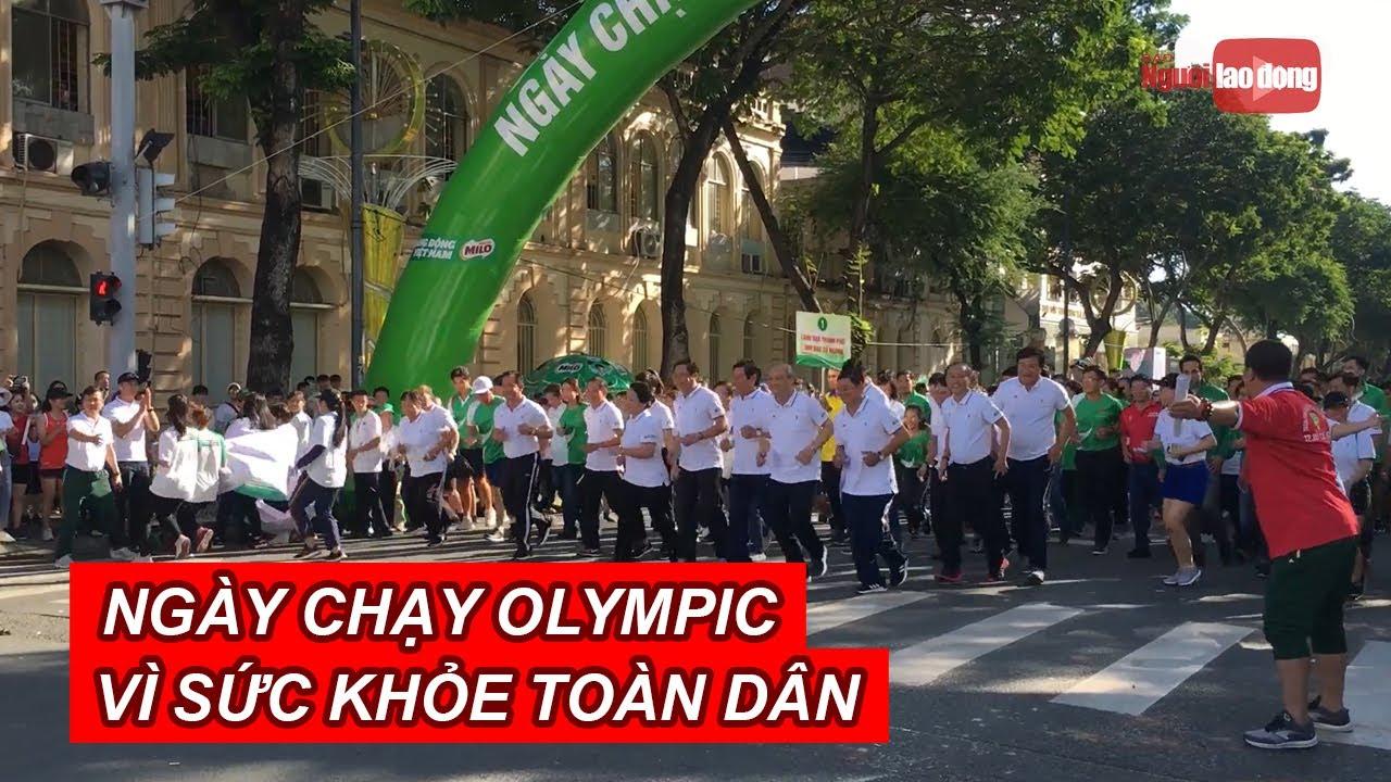"""Hàng ngàn người dân TP HCM hào hứng tham gia """"Ngày chạy Olympic vì sức khỏe toàn dân   NLĐTV"""