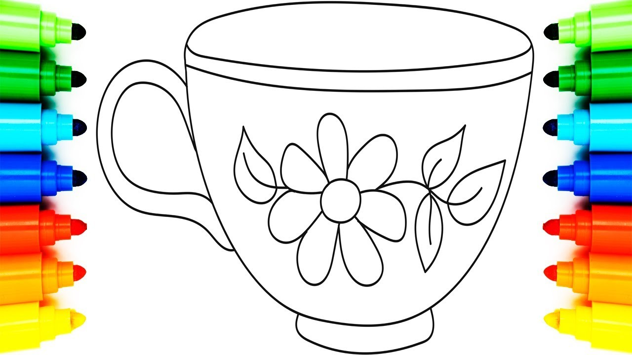 How to Draw Cup | Coloring Pages for Kids | Animation Learning ...