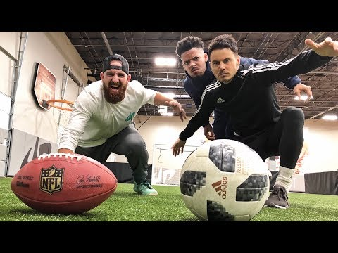 Trik Tembakan Football Vs Sepak Bola | Dude Perfect