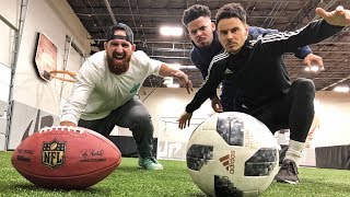 Dude Perfect football vs F2 soccer... trick shot style! ▻ Special thanks to Whistle Sports! Click HERE to subscribe to Whistle Sports: ...