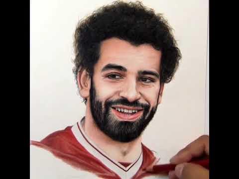 رسم محمد صلاح فخر مصر مرسوم بايدى اجنبية رووووعه Youtube