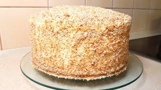 Торт Медовый СЕМЕЙНЫЙ рецепт БЕЗ РАСКАТКИ КОРЖЕЙ простой доступный рецепт
