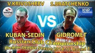 Vyacheslav KRIVOSHEEV - Sergey BRATCHENKO Russian Club Championships Table Tennis
