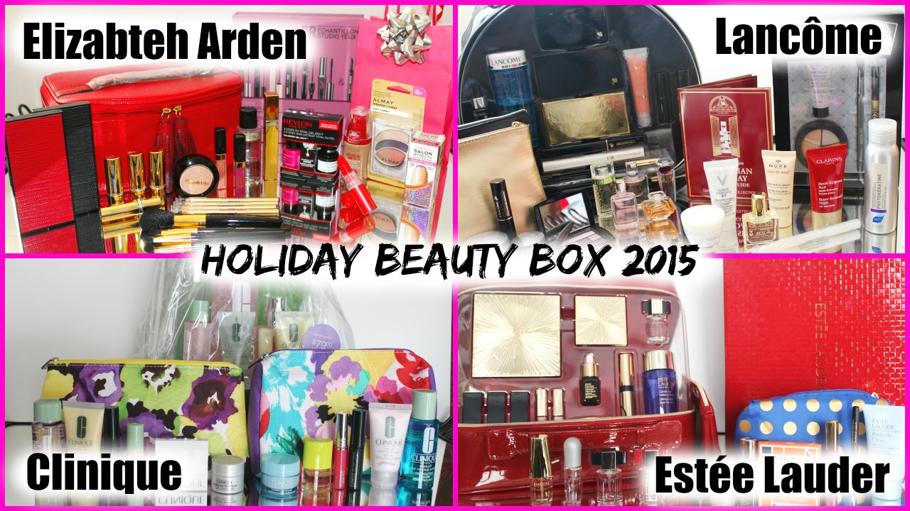 holiday beauty box 2015 este lauder lancme elizabeth arden clinique lise watier chitchat youtube