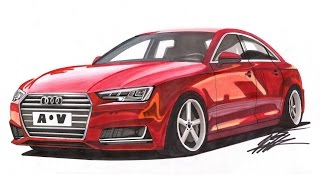 Realistic Car Drawing - 2015 Audi A4 - Time Lapse