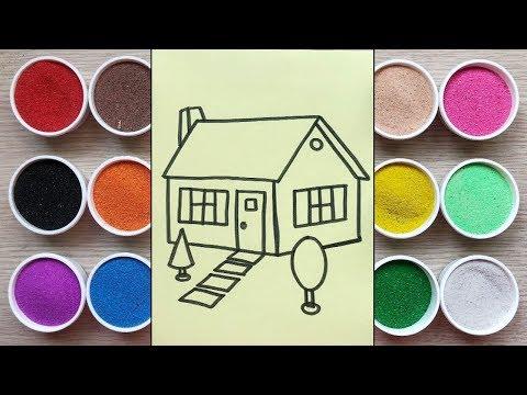 Đồ chơi trẻ em TÔ MÀU TRANH CÁT NGÔI NHÀ NÔNG THÔN - Colored sand painting house (Chim Xinh)
