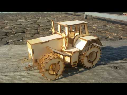 50 W 4040 CO2 laser cutter tests. DIY wood tractor.