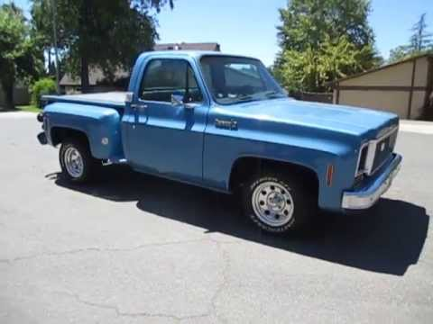 1973 Blue Chevrolet Stepside Truck Walkaround - YouTube