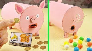WOW 2 in 1!  DIY piggy bank with Credit Card + funny Gumball Vending machine!