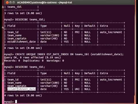 mysql alter index_MySQL Tutorial from Terminal 21/27: Creating Table INDEX - More on ALTER - YouTube