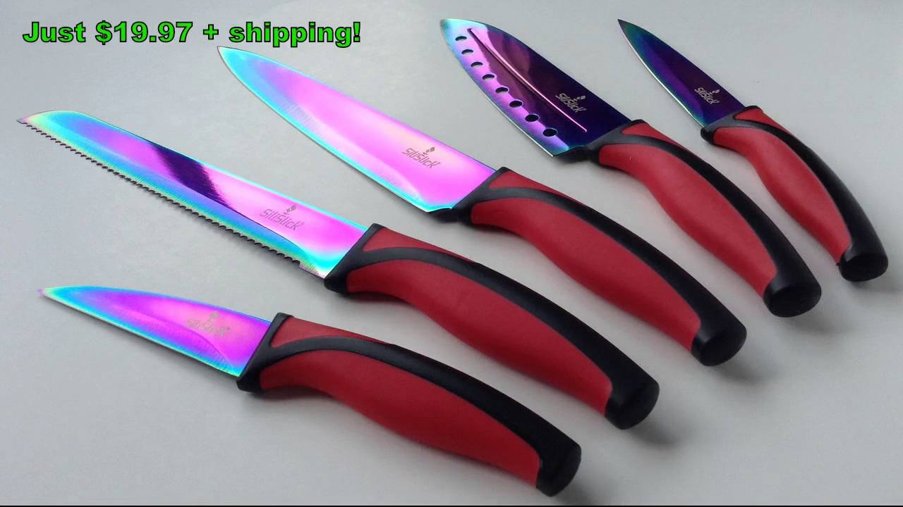 The SiliSlick® Rainbow Knife Set ~ Kitchen Knives ~ Cutlery Sets ...