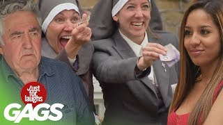 Repeat youtube video Stripping for Nuns, Backyard Funeral, Shopping Cart Disaster Pranks - Throwback Thursday
