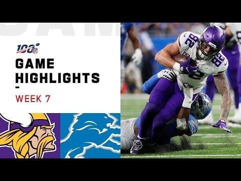 Vikings Vs. Lions Week 7 Highlights | NFL 2019