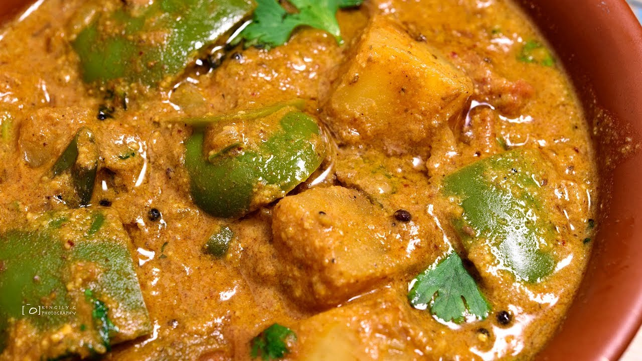 Potato Capsicum Masala for Chappathi and Rotti