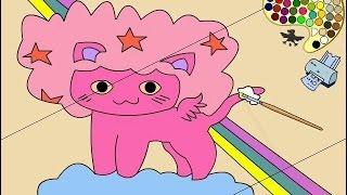 funny coloring for kids animals cat, hippo and  раскраска для детей кошка, бегемот 河马