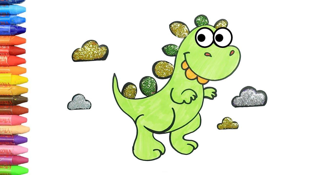 Cómo Dibujar y Colorear Dinosaurio Confundido | Dibujos Para Niños con MiMi 😺 | Aprender Colores 🎨