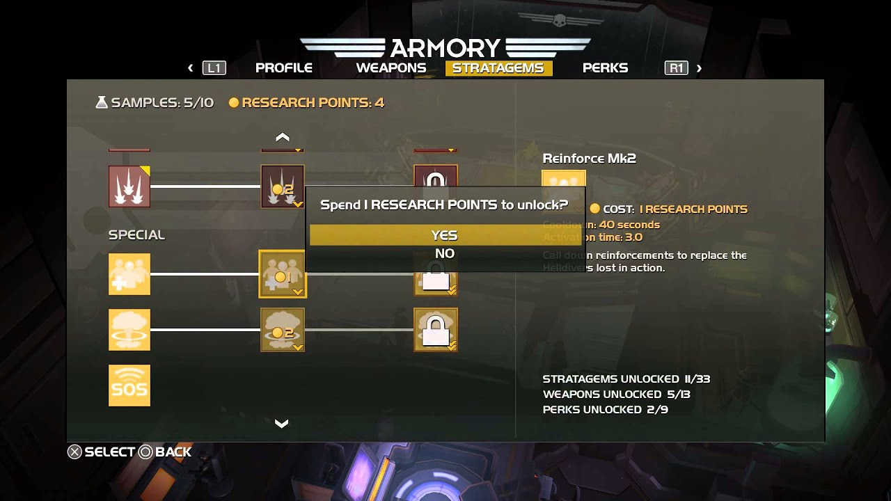 Helldivers - 4 Research Points Spent: Reinforce MK2 Resupply Ammo ...