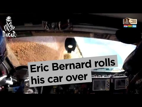 Eric Bernard rolls his car over - Dakar 2017
