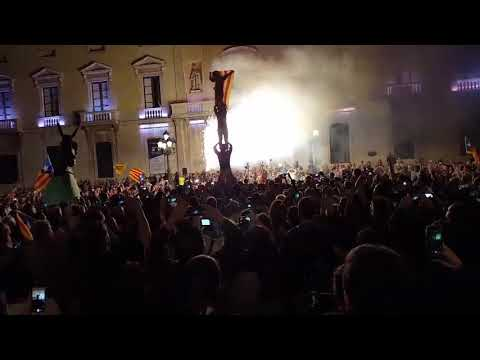 Catalan people celebrating their independence from Spain