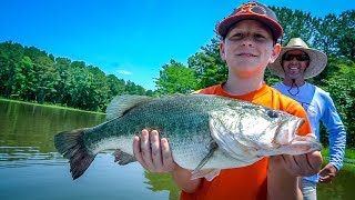 We Didn't Think It Was THAT BIG (Farm Pond Bass Fishing)