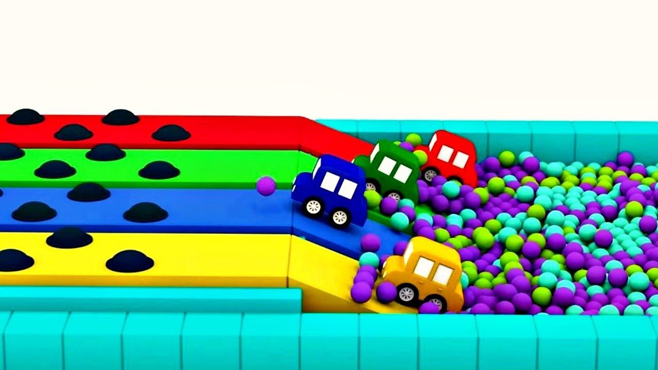 dessin anim avec 4 voitures color es une nouvelle course youtube. Black Bedroom Furniture Sets. Home Design Ideas