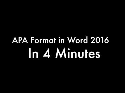 APA Format in Word - in 4 Minutes V2