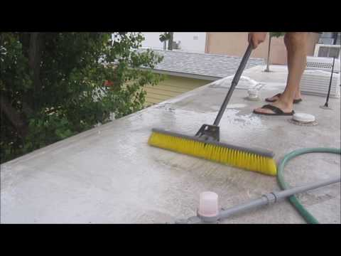 Cleaning and treating rubber roof. Roof repair mistakes