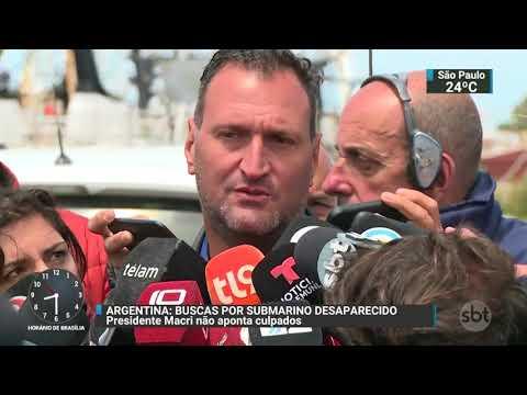 Presidente argentino fala pela primeira vez sobre submarino desaparecido | SBT Brasil (24/11/17)