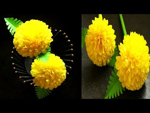 How to make Beautiful Flower with Paper | Marigold Flower | Stick Flower