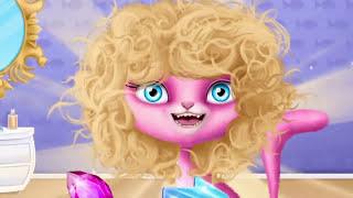 Забавный уход за животными изучает игры детей цветов для женского салона кошачьей шерсти -