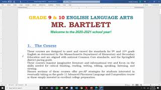 English - Mr. Bartlett