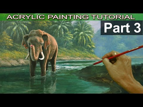 Acrylic Landscape Painting Tutorial Tropical Forest with Elephant | Elephant Details | Part 3