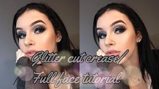 glitter cut crease/ full face tutorial