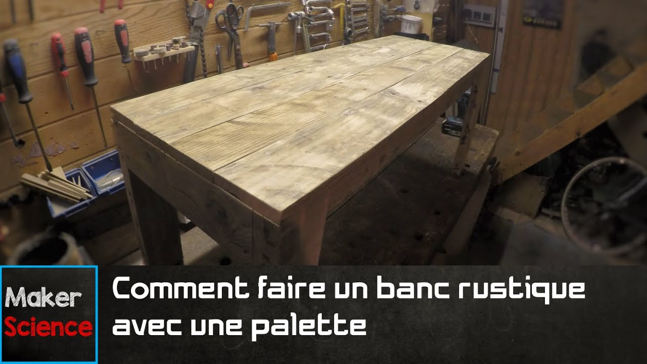 diy comment faire un banc rustique avec une palette youtube. Black Bedroom Furniture Sets. Home Design Ideas