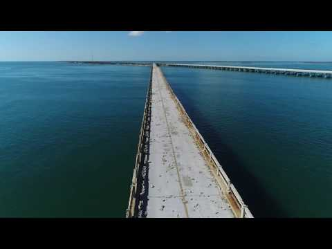 Flying the abandoned overseas highway in the Florida Keys