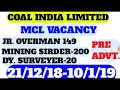 CIL MCL MAHANADI COALFIELDS LIMITED VACANCY JUNIOR OVERMAN  SURVEYOR MINING SIRDAR