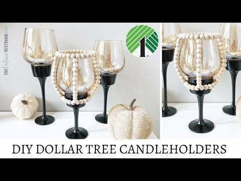 DIY Dollar Tree Candleholders - Fall Decor 2019