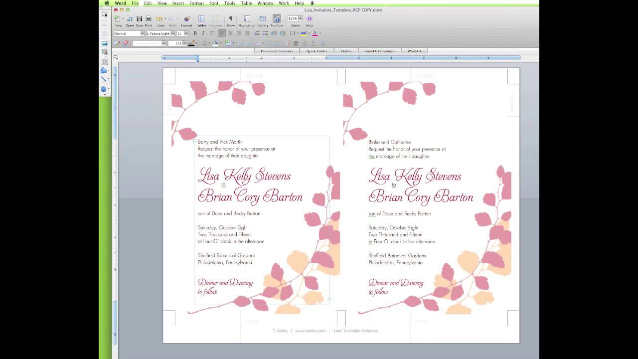 How To Edit a Wedding Invitation Template in Word - YouTube