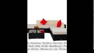 Deluxe Outdoor Rattan Garden Wicker 6-piece Sofa Set Patio Sectional Furniture Reviews