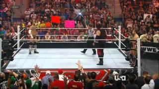 WWE Raw 6/11/12 Cm Punk & AJ vs Daniel Bryan & Kane ( AJ Kisses Kane)
