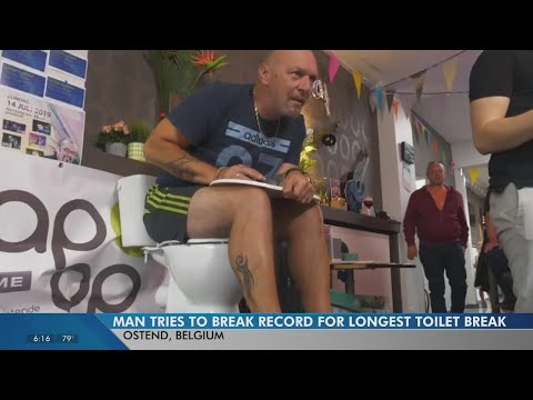 Brady - Man Attempts To Sit On The Toilet In Order To Break World Record