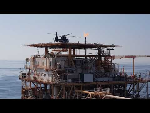 Landing Helicopter on offshore rig oil and gas in pesian gulf