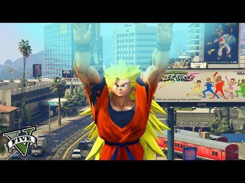 GTA V - MODS - GOKU SUPER SAIYAJIN 3 com GENKI DAMA!