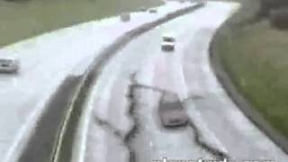 REAL OR FAKE? VIRAL VIDEO 1: Highway Sink Hole Suddenly Swallows Car