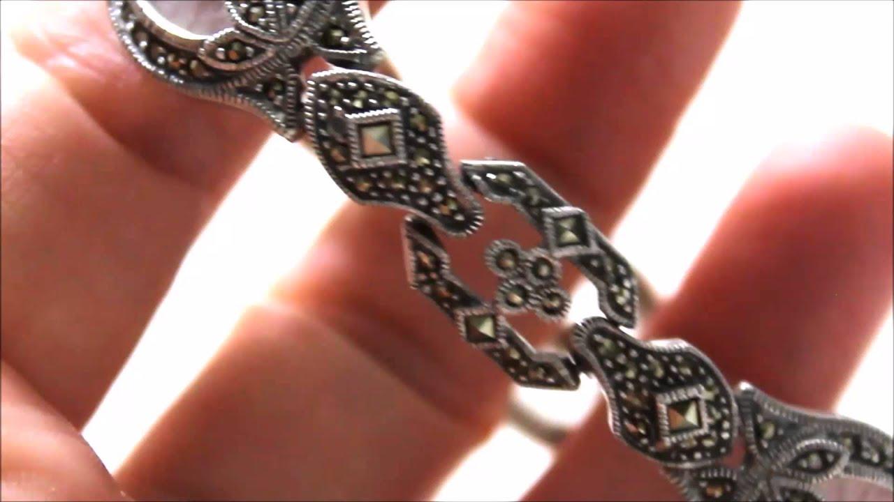 Judith Jack Sterling Silver Diamond Camphor Gl Marcasite Bracelet
