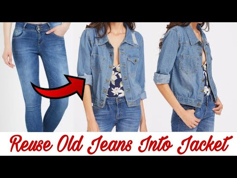 15f610d06bb DIY Convert Reuse Recycle Old Jeans into Girls Jacket Reuse Old ...